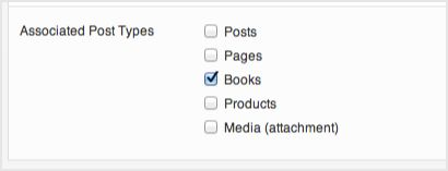 a screenshot of the associated post types options. Books is selected.