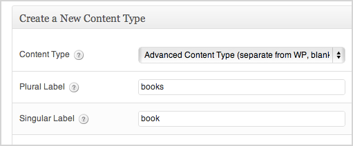 a screenshot of the create new pod options. Advanced content type is selected. The plural name is books, the singular is book