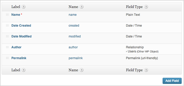 a screenshot of the manage fields section