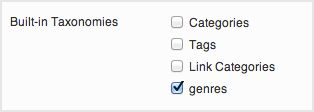 a screenshot of the built-in taxonomies options. The custom taxonomy genre is selected