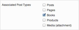 a screenshot of the associated post type options. The custom post type books is selected