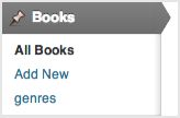 a screenshot of the Books menu. Genres appears as a sub-menu