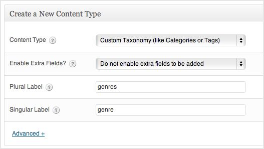 a screenshot of the custom taxonomy creation box. the fields are filled in with genre and genres