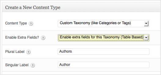 a screenshot of the custom taxonomy creation box. The enable extra fields option is selected. The plural label is authors and the singular label is authors