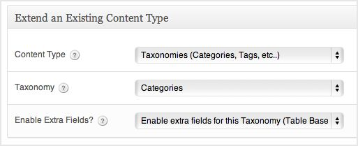 a screenshot of the custom taxonomy extension box. The categories taxonomy is selected. The enable extra fields option is selected
