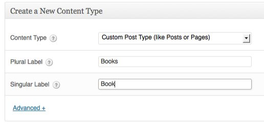 a screenshot of the create a new content type box - custom post type is selected in the dropdown. The taxonomy has the plural label books and the singular label book