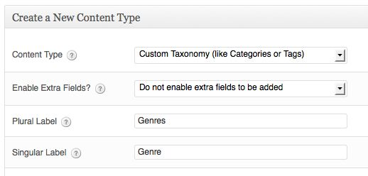 a screenshot of the create a new content type box - custom taxonomy is selected in the dropdown. The taxonomy has the plural label genres and the singular label genre